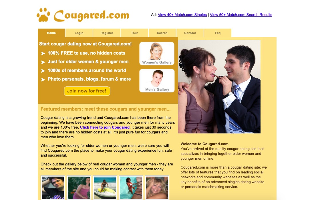 Cougared main page
