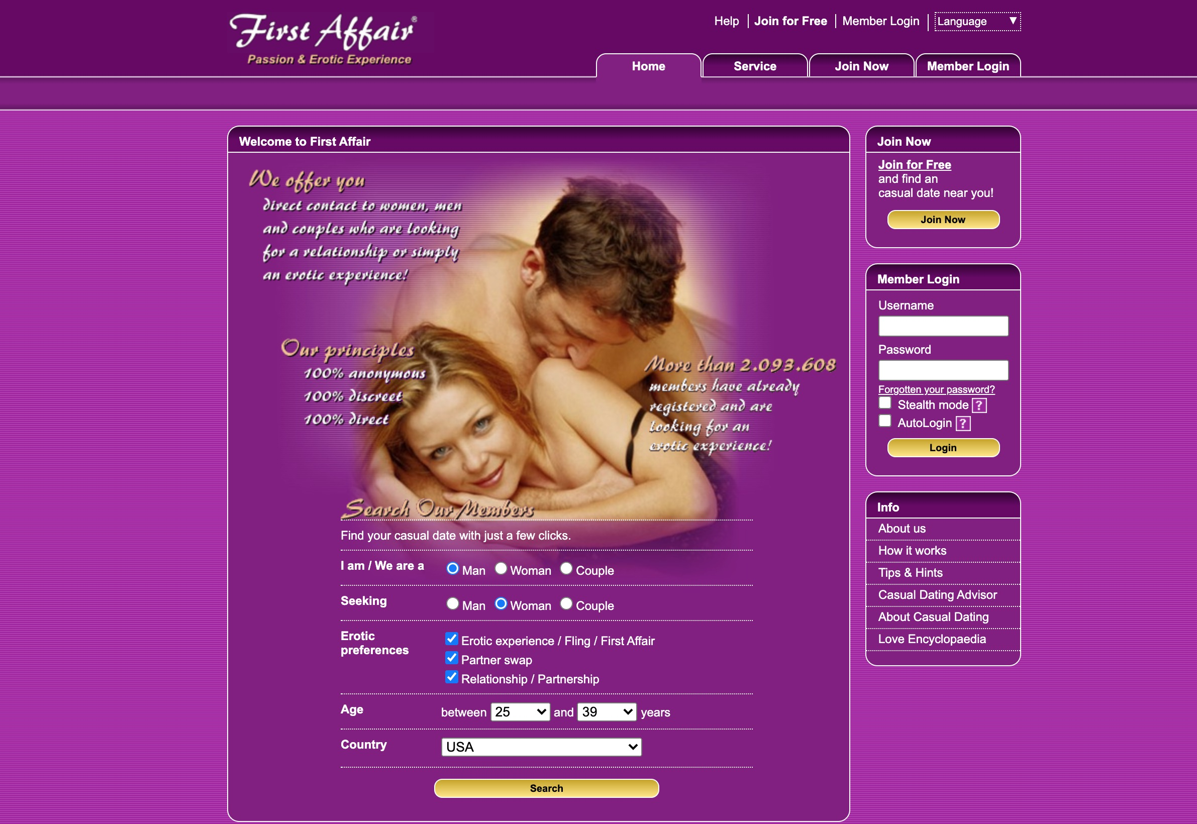 FirstAffair main page